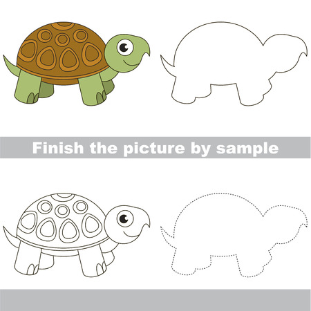 Drawing worksheet for preschool kids with easy gaming level of difficulty, simple educational game for kids to finish the picture by sample and draw the Turtle