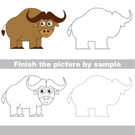 funny baby: Drawing worksheet for preschool kids with easy gaming level of difficulty, simple educational game for kids to finish the picture by sample and draw the Ox
