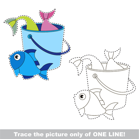 Basket fish catch to be traced only of one line, the tracing educational game to preschool kids with easy game level, the colorful and colorless version. Illustration