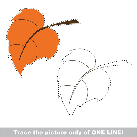 Autumn Leaf to be traced only of one line, the tracing educational game to preschool kids with easy game level, the colorful and colorless version.