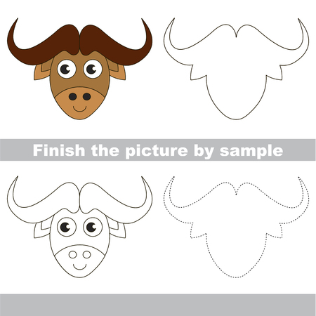 yak: Drawing worksheet for preschool kids with easy gaming level of difficulty, simple educational game for kids to finish the picture by sample and draw the Bull Head
