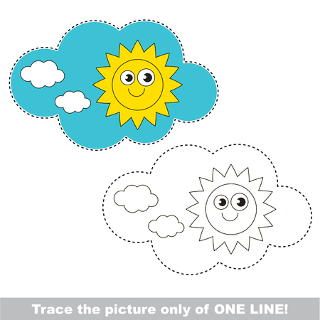 joining the dots: Sky cloud and Sun to be traced only of one line, the tracing educational game to preschool kids with easy game level, the colorful and colorless version. Illustration