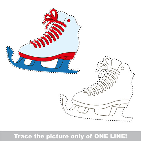 joining the dots: Ice Skate to be traced only of one line, the tracing educational game to preschool kids with easy game level, the colorful and colorless version. Illustration