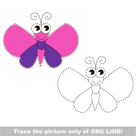 Butterfly to be traced only of one line, the tracing educational game to preschool kids with easy game level, the colorful and colorless version.