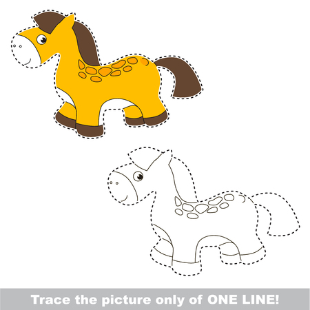 Toy Horse to be traced only of one line, the tracing educational game to preschool kids with easy game level, the colorful and colorless version. Illustration