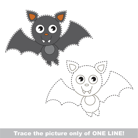 Vampire But to be traced only of one line, the tracing educational game to preschool kids with easy game level, the colorful and colorless version. Illustration