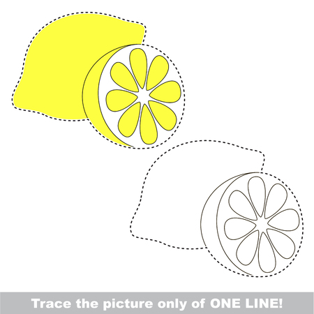 Lemon slice to be traced only of one line, the tracing educational game to preschool kids with easy game level, the colorful and colorless version.