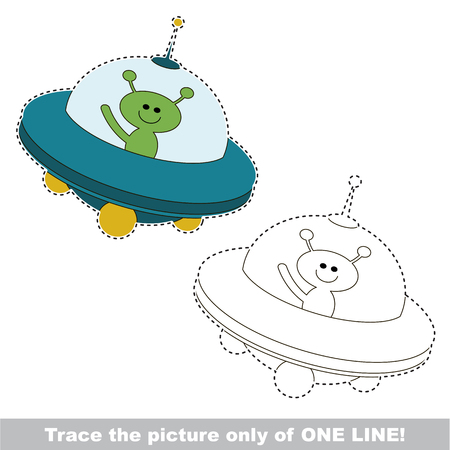UFO to be traced only of one line, the tracing educational game to preschool kids with easy game level, the colorful and colorless version. Illustration
