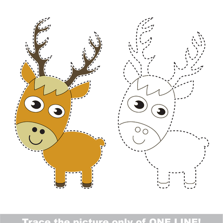Deer to be traced only of one line, the tracing educational game to preschool kids with easy game level, the colorful and colorless version.
