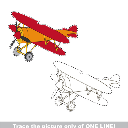 Biplane to be traced only of one line, the tracing educational game to preschool kids with easy game level, the colorful and colorless version.