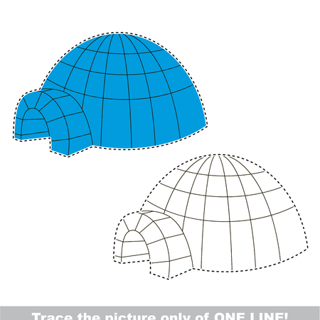 Igloo to be traced only of one line, the tracing educational game to preschool kids with easy game level, the colorful and colorless version.