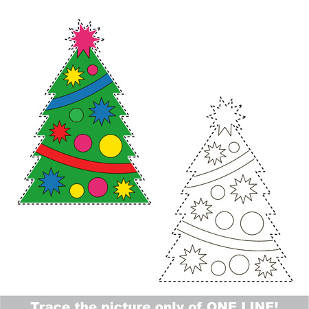 New Year Christmas Tree to be traced only of one line, the tracing educational game to preschool kids with easy game level, the colorful and colorless version. Illustration