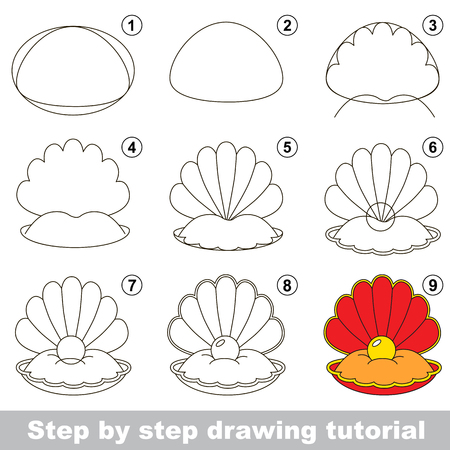 Kid game to develop drawing skill with easy gaming level for preschool kids, drawing educational tutorial for Red oyster and pearl