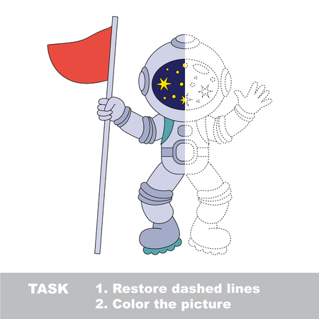 Spaceman with flag. Dot to dot educational game for kids. Half tracing and coloring book.