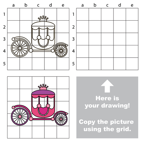 Copy the picture using grid lines, the simple educational game for preschool children education with easy gaming level, the kid drawing game with Princess Chariot.
