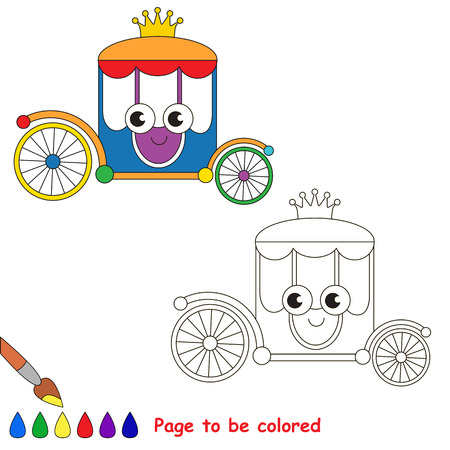 Funny Princess Chariot to be colored, the coloring book for preschool kids with easy educational gaming level.