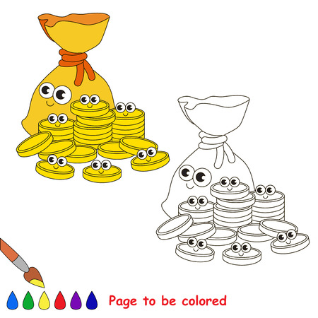 A Bagful f Gold Cash Coins to be colored, the coloring book for preschool kids with easy educational gaming level. Illustration