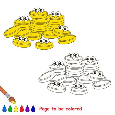 Un Montón De Monedas De Oro En Efectivo Para Ser Coloreado, El Libro ...