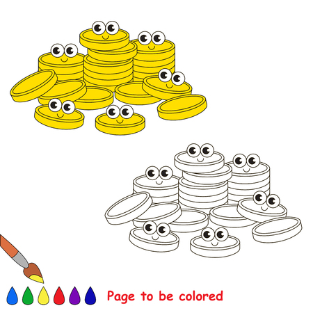 A lot f Gold Cash Coins to be colored, the coloring book for preschool kids with easy educational gaming level. Illustration
