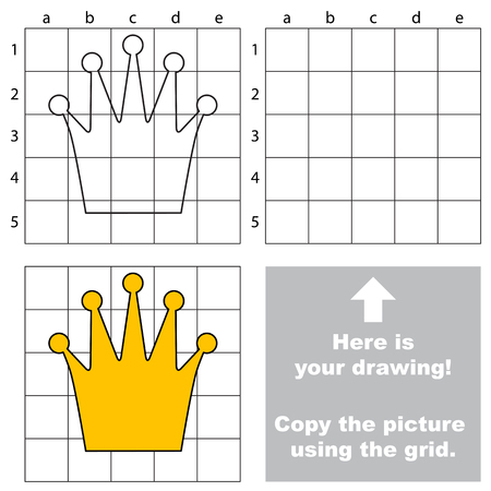 preliminary: Copy the picture using grid lines, the simple educational game for preschool.