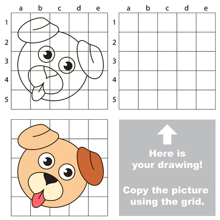 skill: Copy the picture using grid lines, the simple educational game for preschool.