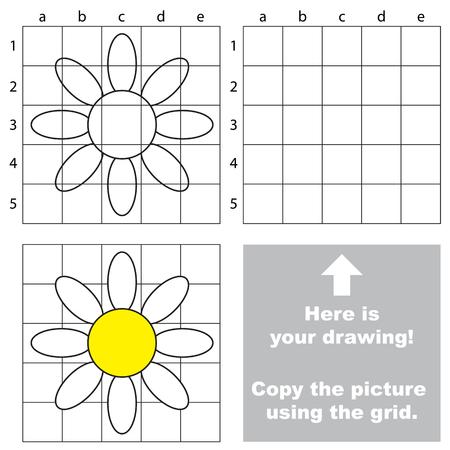 Copiez l'image à l'aide de lignes de grille, le jeu éducatif simple pour l'éducation préscolaire. Banque d'images - 76589506