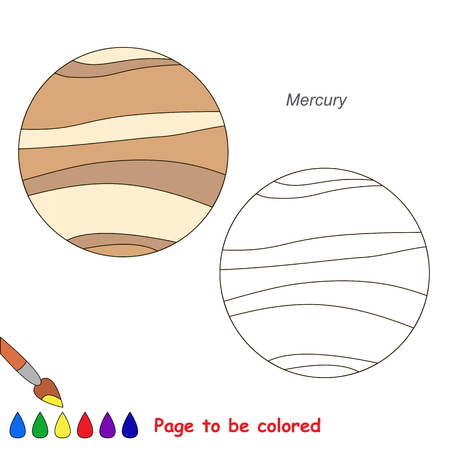 Planet Mercury to be colored, the coloring book for preschool kids with easy educational gaming level. 向量圖像