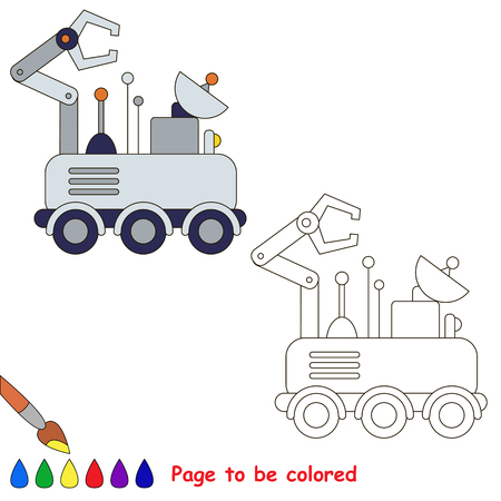 moon rover: Wheeled Mars Rover to be colored, the coloring book for preschool kids with easy educational gaming level.