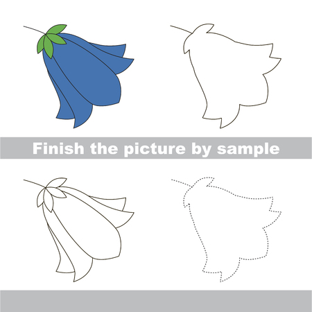 Drawing worksheet for preschool kids with easy gaming level of difficulty, simple educational game for kids to finish the picture by sample and draw the Bluebell