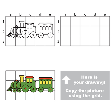 railcar: Copy the horisontal picture using grid lines, the simple educational game for preschool children education with easy gaming level, the kid drawing game with Green Train Locomotive