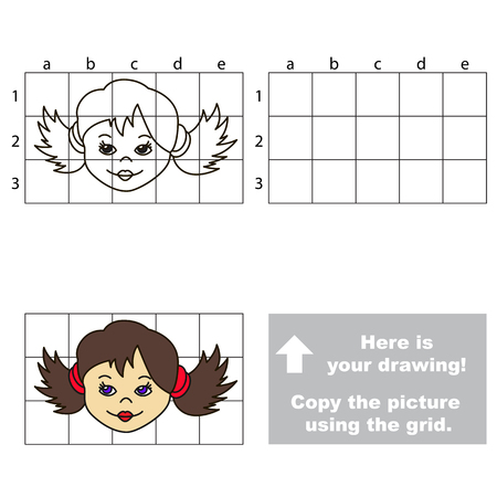 preliminary: Copy the horisontal picture using grid lines, the simple educational game for preschool children education with easy gaming level, the kid drawing game with Brunette Girl Illustration