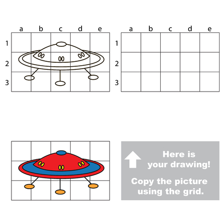 preliminary: Copy the horisontal picture using grid lines, the simple educational game for preschool children education with easy gaming level, the kid drawing game with UFO - the Flying saucer Illustration