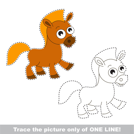 Brown Horse. Dot to dot educational game for kids, the one line tracing page.