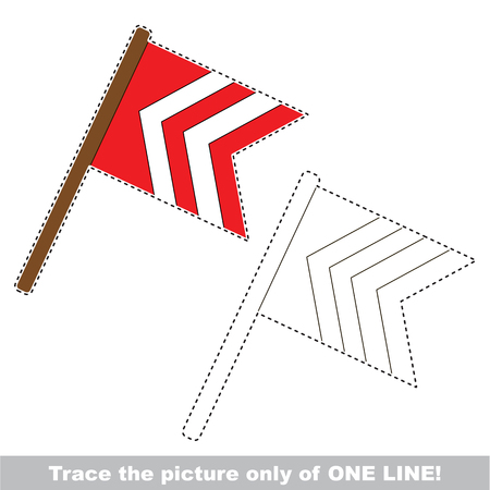 joining the dots: Red stripped flag. Dot to dot educational game for kids, the one line tracing page.