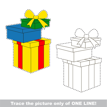 Gift Boxes. Dot to dot educational game for kids, the one line tracing page. Illustration