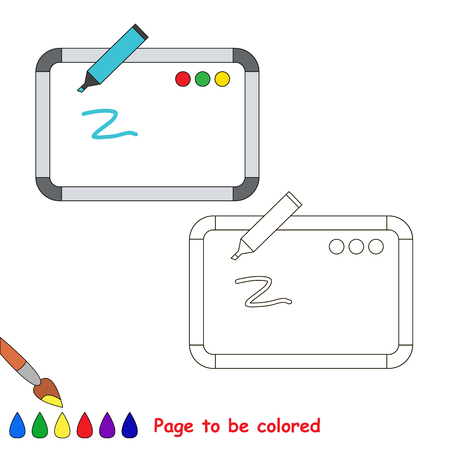Whiteboard to be colored, the coloring book for preschool kids with easy educational gaming level.