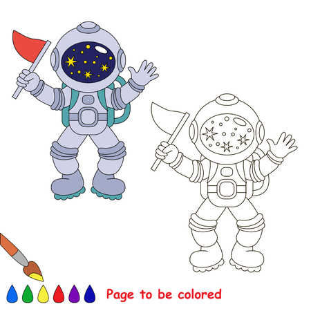 Spaceman-conqueror to be colored, the coloring book for preschool kids with easy educational gaming level. 向量圖像
