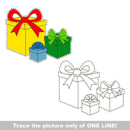 joining the dots: Surprise gift boxes. Dot to dot educational game for kids, the one line tracing page. Illustration