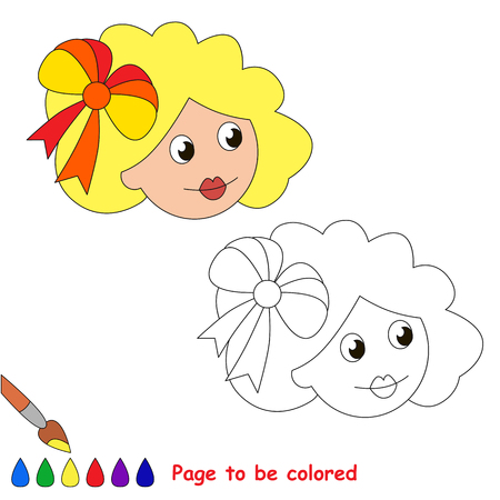 Doll head to be colored, the coloring book for preschool kids with easy educational gaming level.