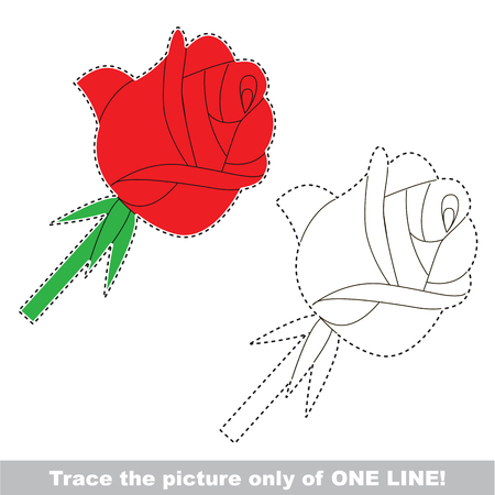 Red Rose. Dot to dot educational game for kids, the one line tracing page. Illustration