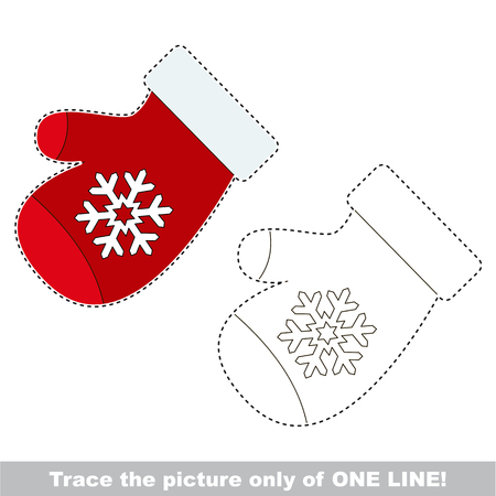 Red mittens. Dot to dot educational game for kids, the one line tracing page.