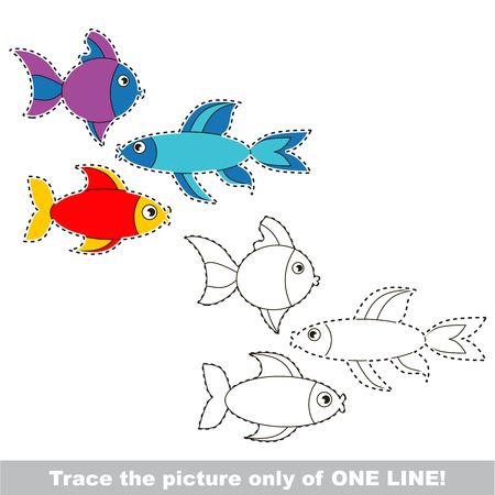 Colorful Fishes. Dot to dot educational game for kids, the one line tracing page.