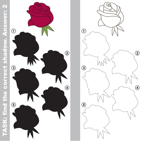 Red Rose Head with different shadows to find the correct one, compare and connect object with it true shadow, the educational kid game with simple gaming level.