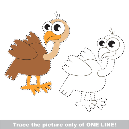 Vulture. Dot to dot educational game for kids, the one line tracing page.