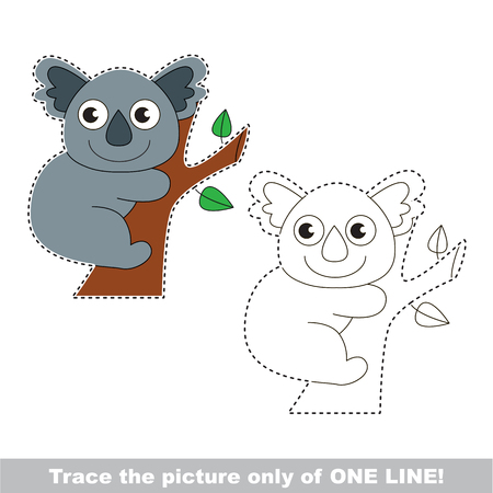 Koala. Dot to dot educational game for kids, the one line tracing page. Illustration