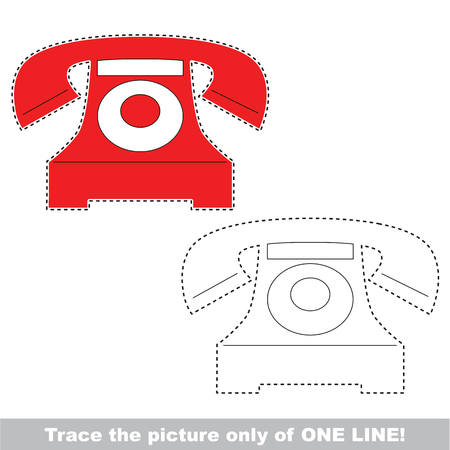 Telephone. Dot to dot educational game for kids, the one line tracing page.