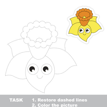 Funny Yellow Narcissus. Dot to dot educational game for kids.