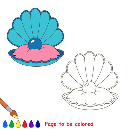 Oyster with Pearl to be colored, the coloring book for preschool kids with easy educational gaming level.