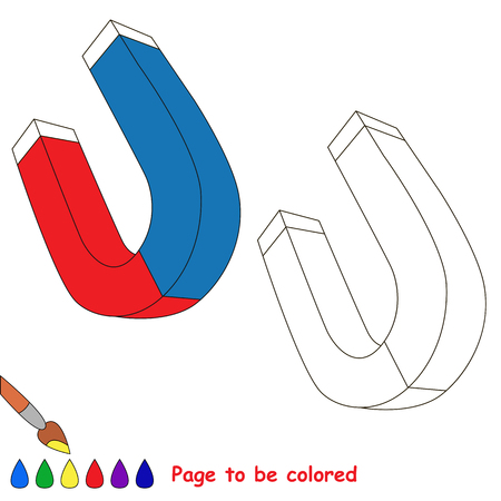Magnet to be colored, the coloring book for preschool kids with easy educational gaming level.
