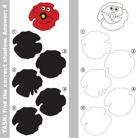 Funny Poppy Head with different shadows to find the correct one, compare and connect object with it true shadow, the educational kid game with simple gaming level.